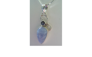 Faceted Labradordite and Cabochon Blue Lace Agate in Scrolled 925 Sterling Silver Setting Necklace