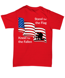 R.E.D. T-Shirt for Redshirt Friday Stand for the Flag on Back
