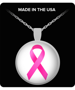 Pink Breast Cancer Pendant Necklace