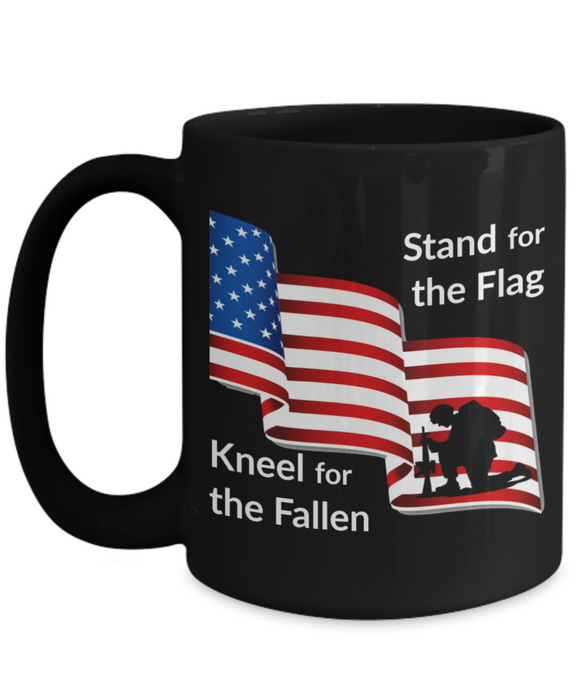 Stand for the Flag Kneel for the Fallen Black Mug