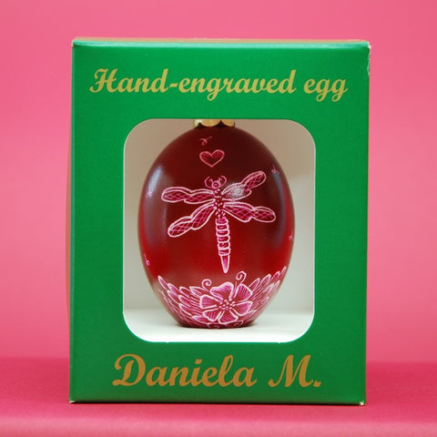 Goose Egg Ornament with Dragonfly & Wild Rose Design in Burgundy