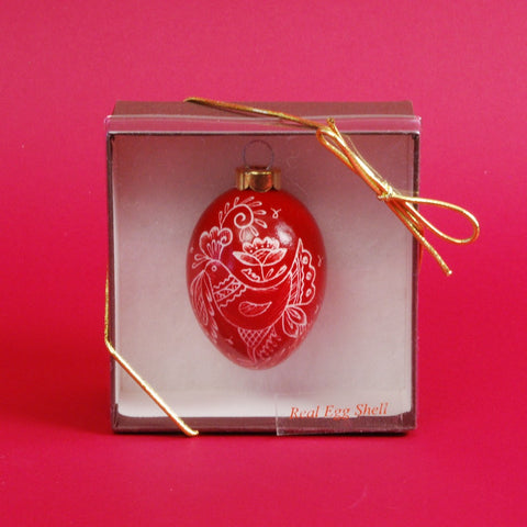 Chicken Egg Ornament with Rooster Design in Red