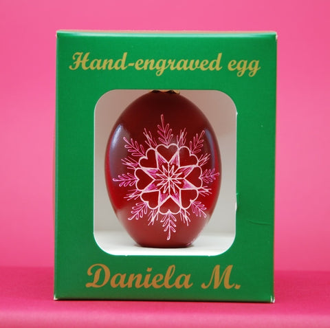 Goose Egg Ornament by Daniela Mahoney in Star with Eight Hearts Design in Burgundy