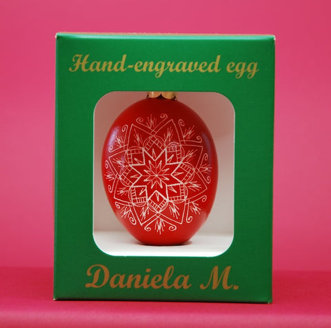 Goose Egg Ornament by Daniela Mahoney with Triple Star Design in Red