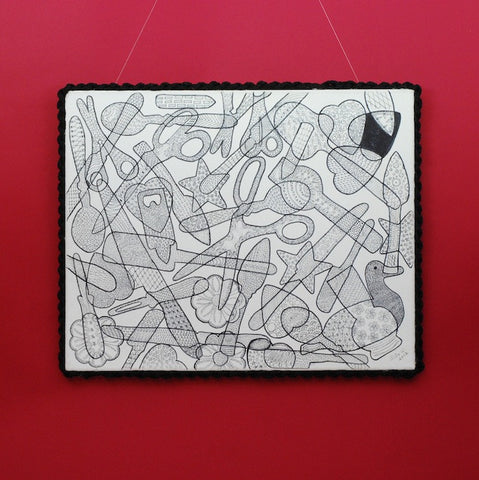 "In this wall piece titled ""My Tools,"" Rita Flores de Wallace has used a black permanent marker on canvas to work in the ""filigrana"" Mexican drawing technique."