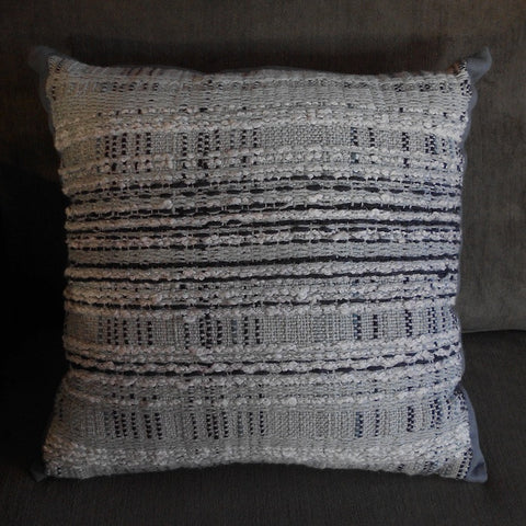 Gray cotton handwoven throw pillow