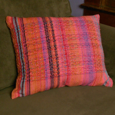 Handwoven cotton pillow with handspun weft from Swaziland