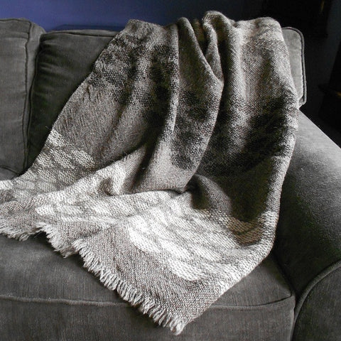 Handwoven Blanket by Heritage Blankets—Chimayó Hourglass Design with Dark Background