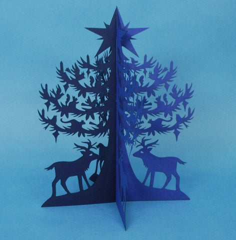 Papercut Tree—Blue Spruce Tree with Elk