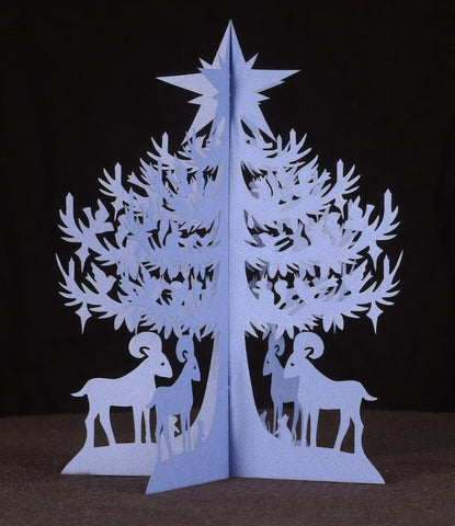 Papercut Tree—Blue Spruce Tree with Bighorn Sheep