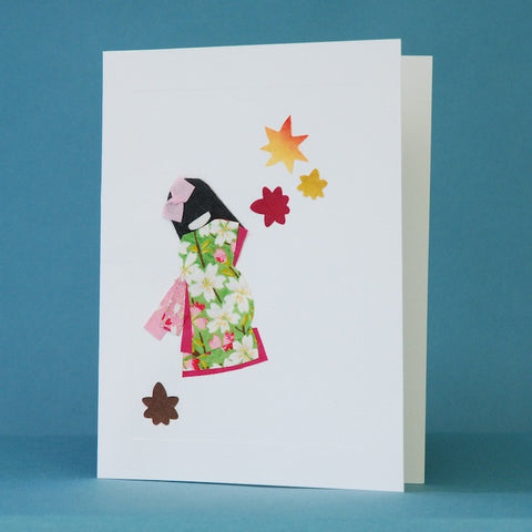 Washi Greeting Cards by Kimiko Side—Set of 4—Kimonos