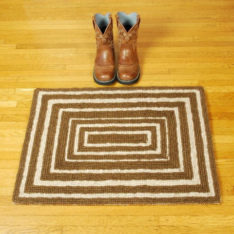 Handmade Locker Hook Rug or Wall Hanging by Linda Morton Keithley in Natural Navajo-Churro Wool