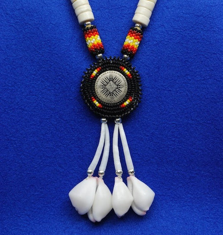 Native American Beaded Medallion Necklace in Black & White