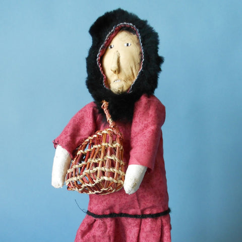 This Native Alaskan Doll with Grass Basket was created by Susie Nayamin of Chevak, Alaska.