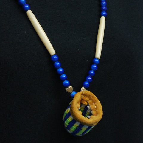 Native American Root Basket Necklace in Blue and Green