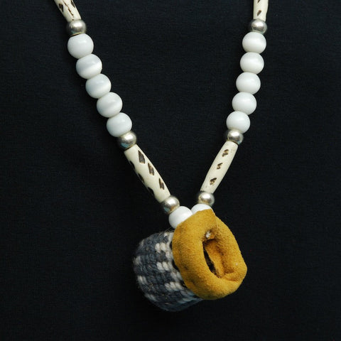 Native Root Basket Necklace in Grey and White