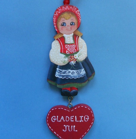 Scandinavian Christmas Ornament—Norwegian Round-the-World Girl