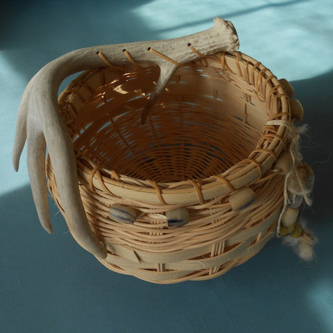 Round antler basket with handblown beads by Barbara Mincer