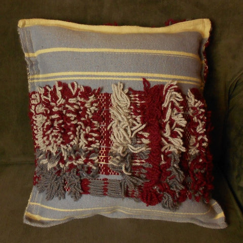 Handwoven Rya Throw Pillow in Wine and Gray by Georgia Wier of Oregon