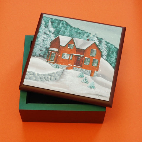 Scandinavian Decorative Painting—Wooden Box with Snow Scene