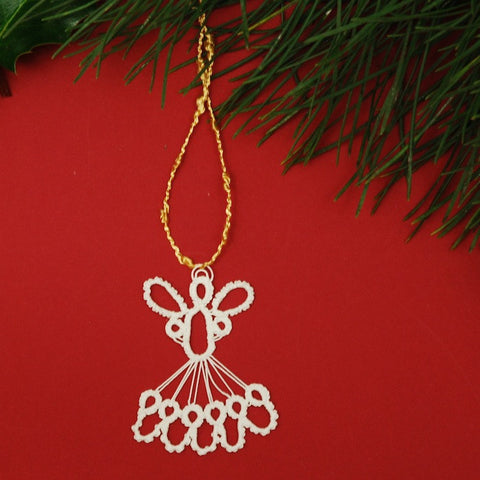 A tatted angel ornament by Mary Maynard is a lovely delicate addition to a tree or holiday spray.