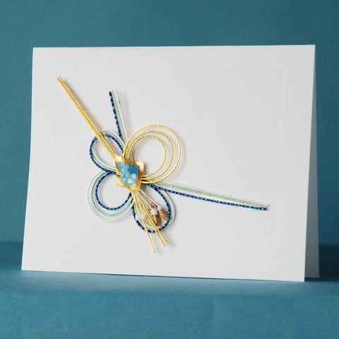 Washi Card by Kimiko Side—Single—Gold and Blue Mizuhiki
