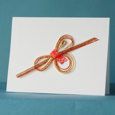 Washi Card by Kimiko Side—Single—Gold, Red, & White Mizuhiki