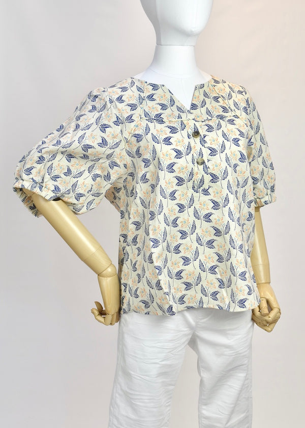 Puff Sleeve Blouse - Cream Multi - BASKE California Footwear