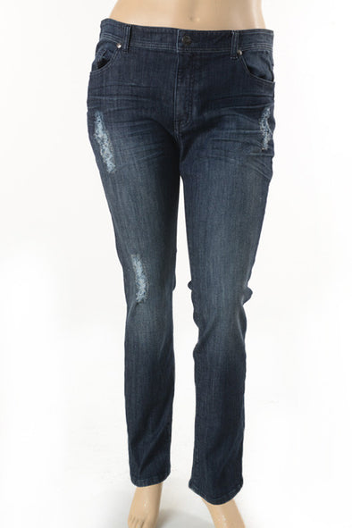 Dark Distressed Denim Curvy Jeans