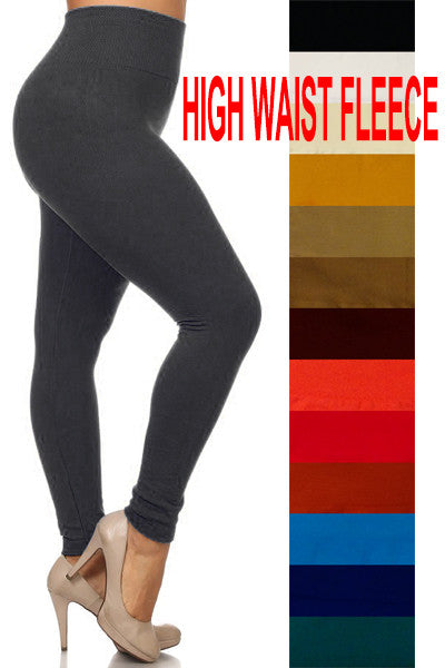 High Waist Fleece Leggings Plus Size