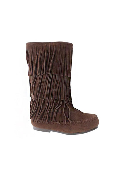 Girls Fringe Boots in Brown
