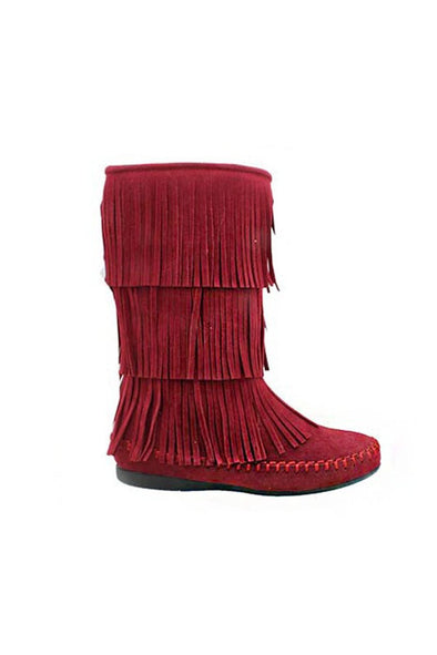 Girls Fringe Boots in Red