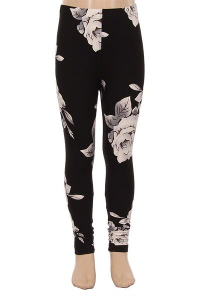 kids leggings black floral