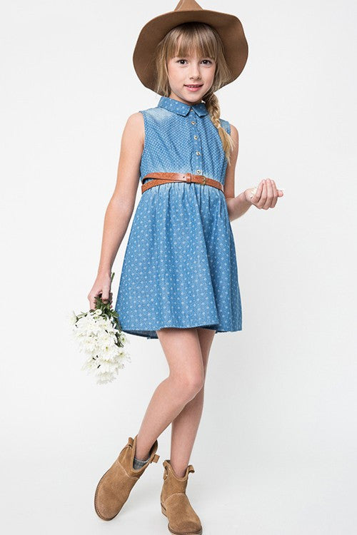 LIGHT DENIM GIRLS DRESS KIDS