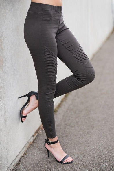 Stretch Moto Leggings Charcoal