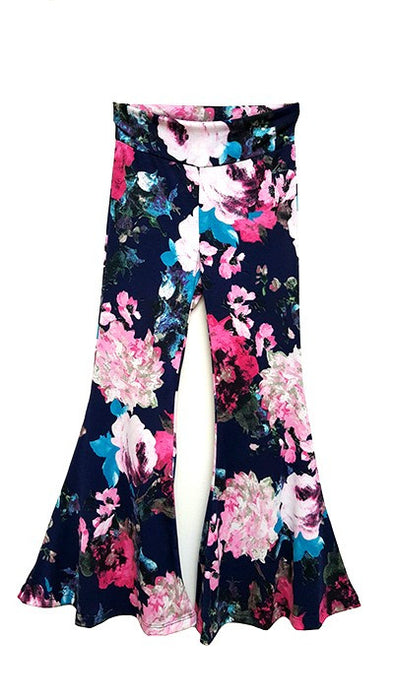 Little Girls Floral Flare Pants
