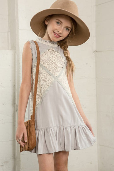 Light Grey Crochet Dress Kids
