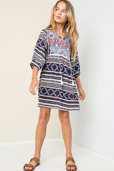 Girls Printed Aztec Dress Navy