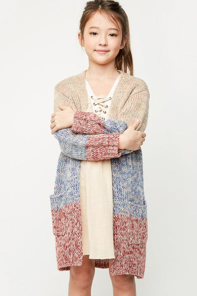 Long sweater cardigan kids stone