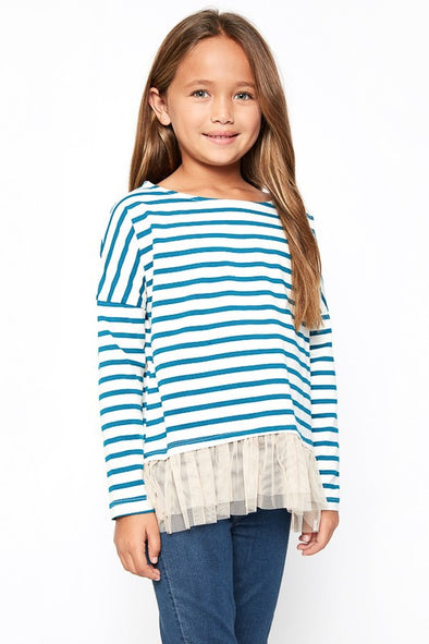 Stripe long sleeve tulle top teal