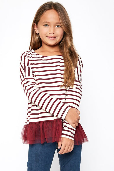 Stripe long sleeve tulle top wine
