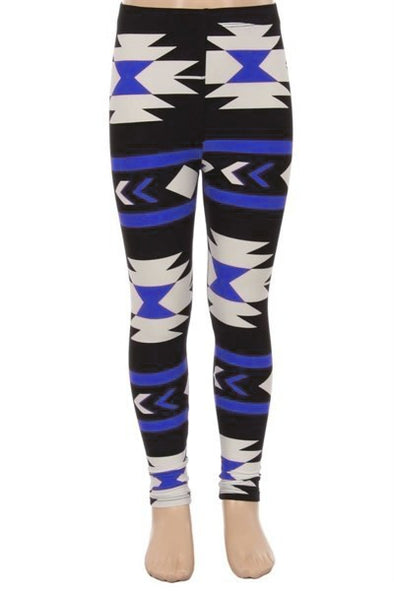 kids leggings blue aztec
