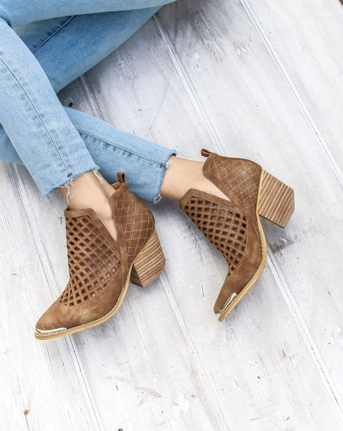 Ankle v cut booties in brown