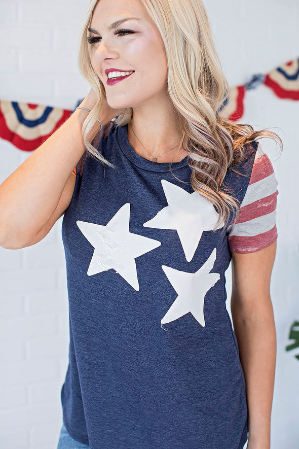 Stars and Navy Blue Tee