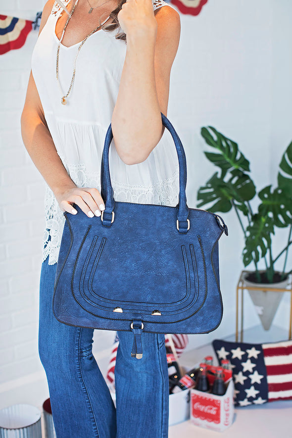 Navy Dottie Maci Handbag