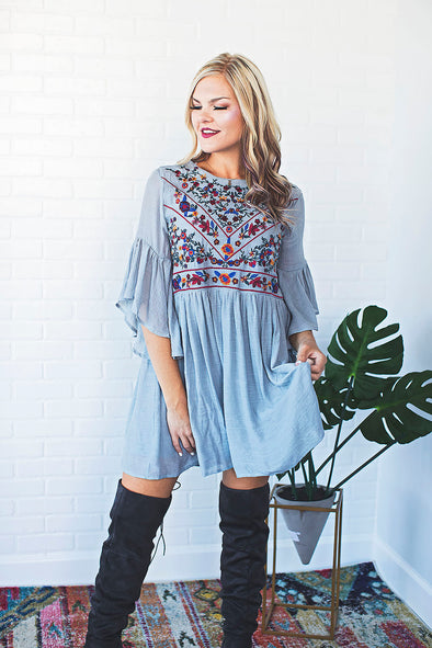 Lillie Avenue Floral Embroidered Dress Grey