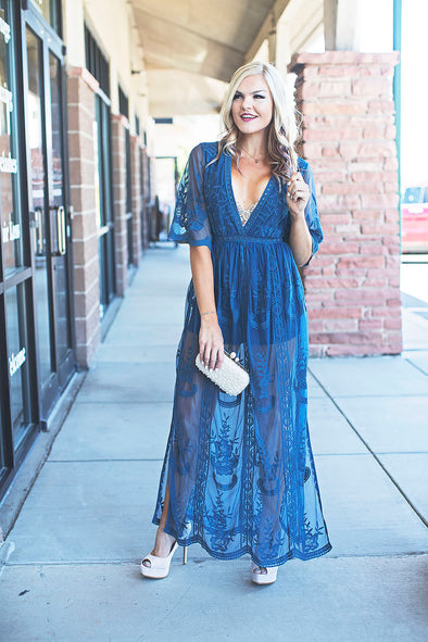 Lace Romper Maxi Dress (Teal)