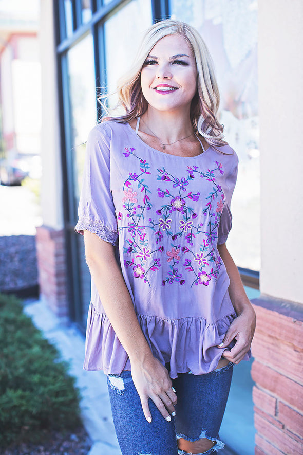 Mauve Embroidered Top Ruffle Hem
