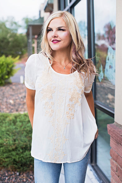 Ivory Taupe Embroidered Top