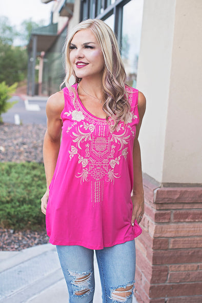 Hot Pink Embroidered Tank